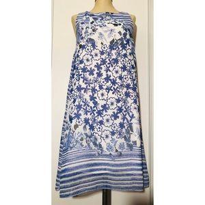 Max Studio Blue White Tunic Dress Sz. M